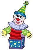 Cartoon clown in box — Stock Vector