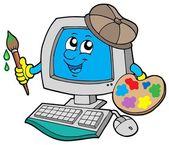 Cartoon computer artist — Stock Vector
