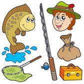 Cartoon fisherman collection — Stock Vector