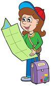 Cartoon girl traveller — Stock Vector