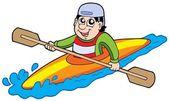 Cartoon kayaker — Stock Vector