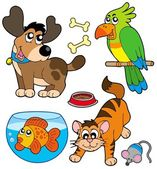 Cartoon pets collection — Stock Vector