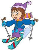 Cartoon skidåkning pojke — Stockvektor