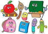 Cartoon school illustrations collections — Stock Vector