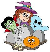Cemetery with Halloween characters — Stock Vector