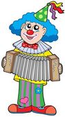 Clown with accordion — Stock Vector