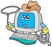 Cowboy computer — Stock Vector