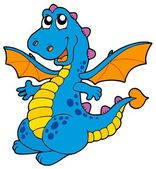 Cute blue dragon — Vettoriale Stock