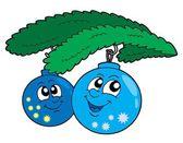 Cute blue Christmas globes — Stock Vector