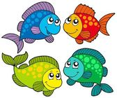 Cute cartoon fishes collection — Stock Vector