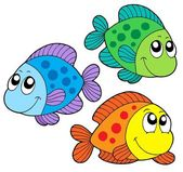 Cute color fishes — Stock Vector