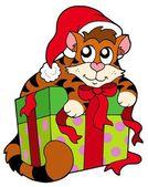 Cute cat in Santas hat — Stock Vector