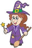 Cute wizard girl — Stock Vector