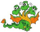Cute three headed dragon — Stock Vector