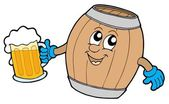 Cute wooden keg holding beer — Stock Vector
