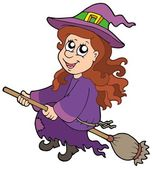 Cute witch flying on broom — Stock Vector