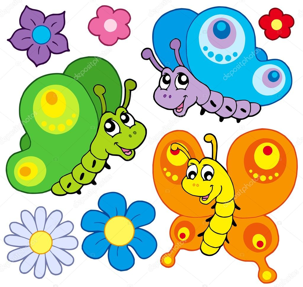 Cartoon butterflies collection - vector illustration. — Stock Vector #2147813