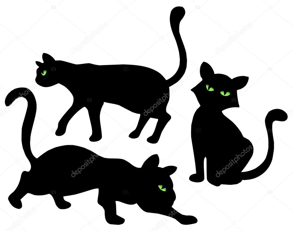 Cats silhouettes on white background - vector illustration.  Stock Vector #2148360