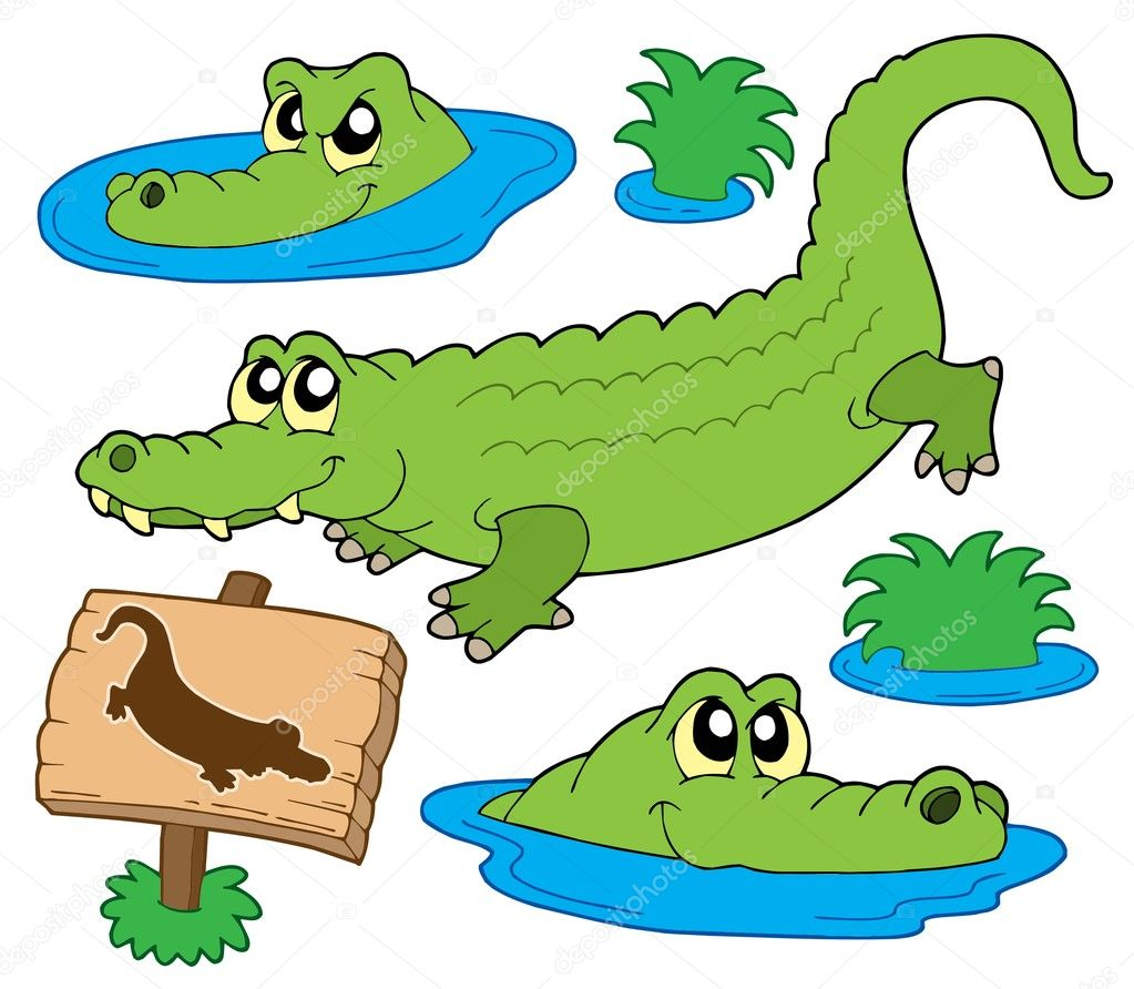 Crocodile collection on white background - vector illustration.  Stock Vector #2148664
