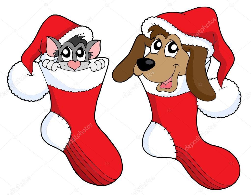 Lindo gato y perro en calcetines de Navidad \u2014 Vector de stock 2148897