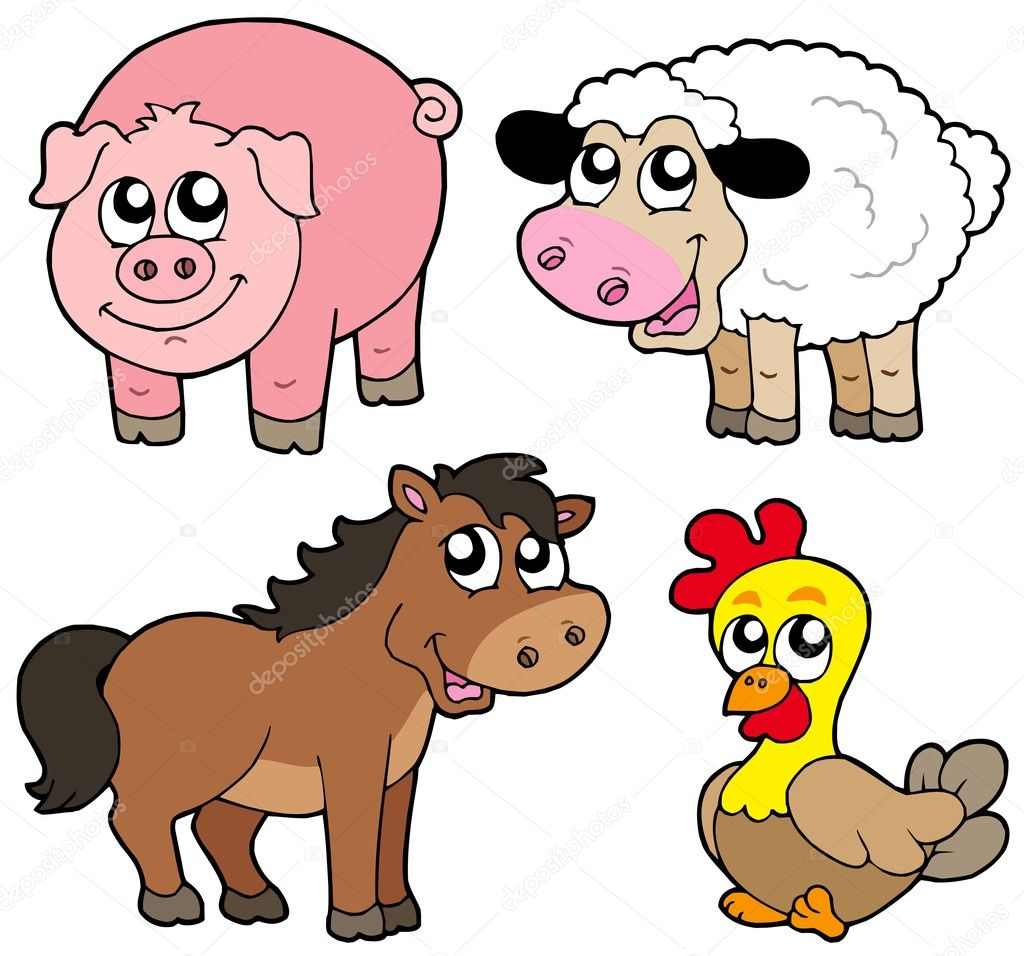 Cute country animals collection - vector illustration. — Stock Vector #2148986
