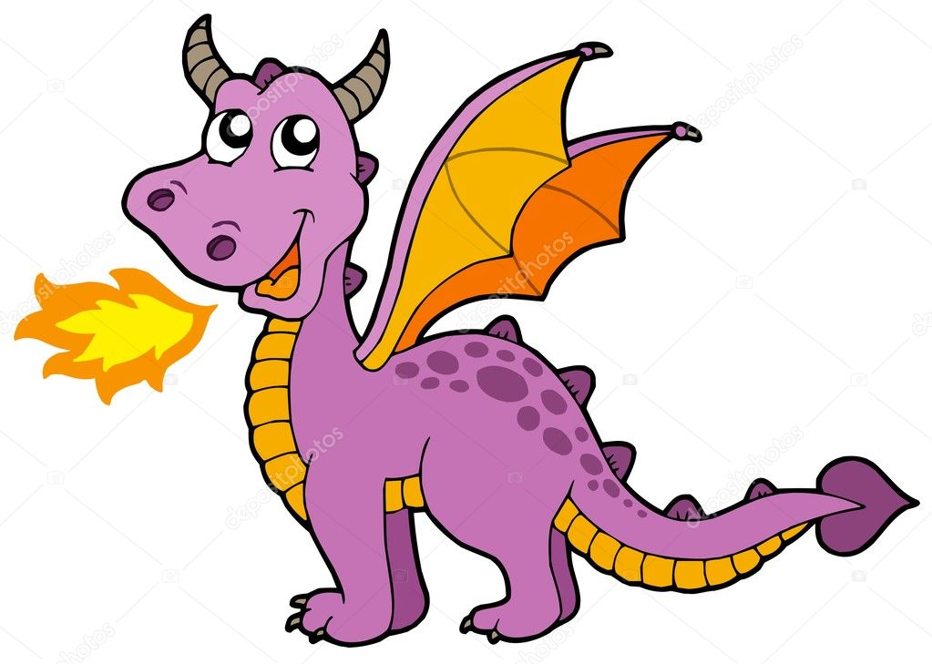 Cute small dragon - vector illustration. — Stock Vector #2149510