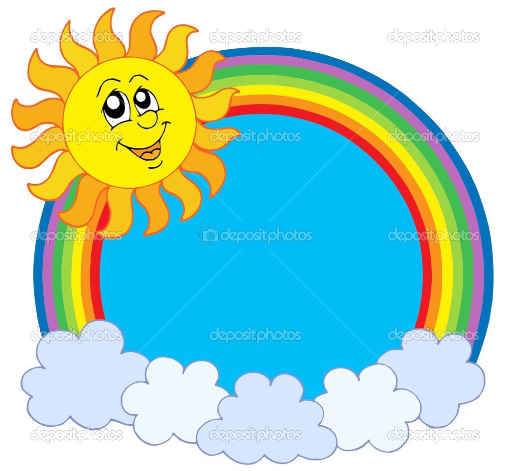 Cute Sun and rainbow - vector illustration.  Stock Vector #2149601