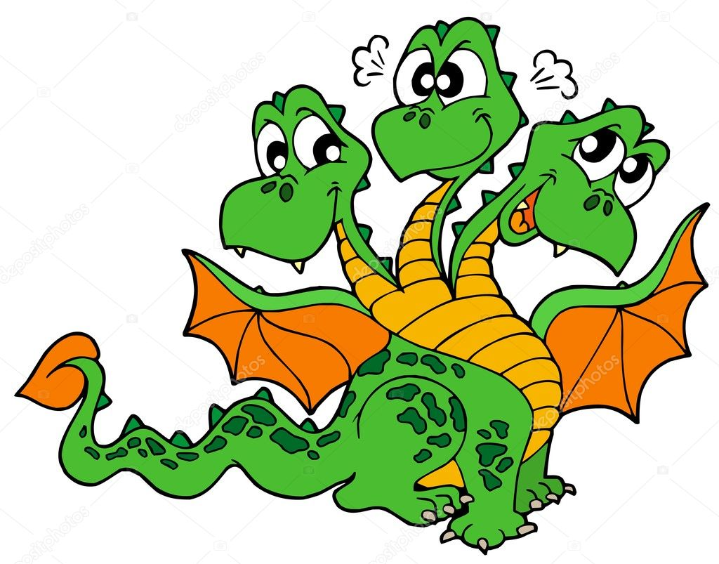 Cute three headed dragon - vector illustration. — Stock Vector #2149691