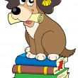 Dog teacher on pile of books - Stock Vector
