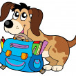Dog with school bag - Stock Vector