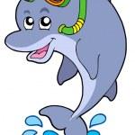 Dolphin snorkel diver — Stock Vector #2201050