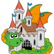 Dragon with old castle - Stock Vector