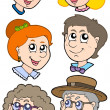 Stock Vector: Family faces collection