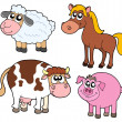 Farm animals collection — Imagens vectoriais em stock