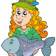 Stock Vector: Fisherwomholding big fish