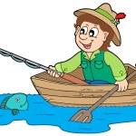 Fisherman in boat — Stock Vector