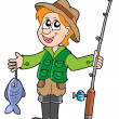 Fisherman with rod - Imagen vectorial