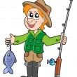 Fisherman with rod — Imagen vectorial