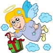 Flying angel with gift — Stock Vector
