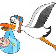 Stock Vector: Flying stork delivering baby