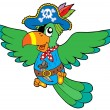 Stock Vector: Flying pirate parrot
