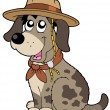 Stock Vector: Friendly dog in scout hat