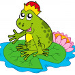 Royalty-Free Stock Vector Image: Frog prince on water lily