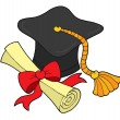 Graduation hat and scroll — Stock Vector
