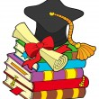 Graduation hat on pile of books — Stock Vector