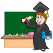 Graduate student with blackboard — Stock Vector