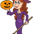 Stock Vector: Halloween girl wizard
