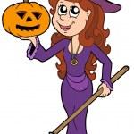 Halloween girl wizard — Stock Vector