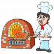 Chef baking pizza — Stock Vector #2202022