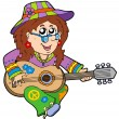 Stock Vector: Hippie guitar player